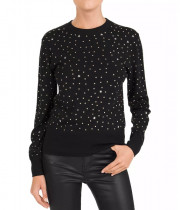 The Kooples Wool Blend Studded Rib-Knit Sweater