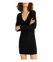 Theory Wooster Crepe Knit Long-Sleeve V-Neck Dress