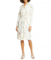 Tory Burch Afternoon Tea Floral Long-Sleeve Silk Shirtdress