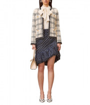 Tory Burch Kendra Chiffon-Trimmed Linen-Blend Tweed Jacket