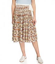 Tory Burch Pleated Tie Wrap Voile Skirt