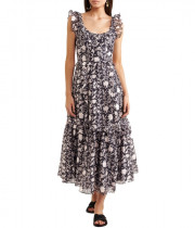 Ulla Johnson Brigitte Floral Organza Midi Dress