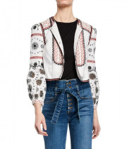 Veronica Beard Shilin Embellished Linen Jacket