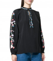 Vilshenko Faye Embroidered Silk Blouse
