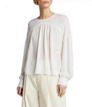 Vince Shirred Long-Sleeve Silk Crepe Blouse