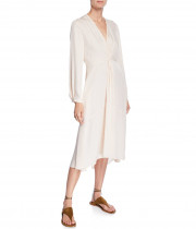 Vince V-neck Long-sleeve Twisted Drape Dress